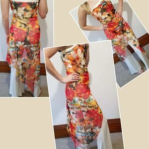 Cache pants suit with strapless floral design smal